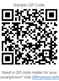 Sample QR Code - Need a QR code reader for your smartphone? Visit QRcurious.com