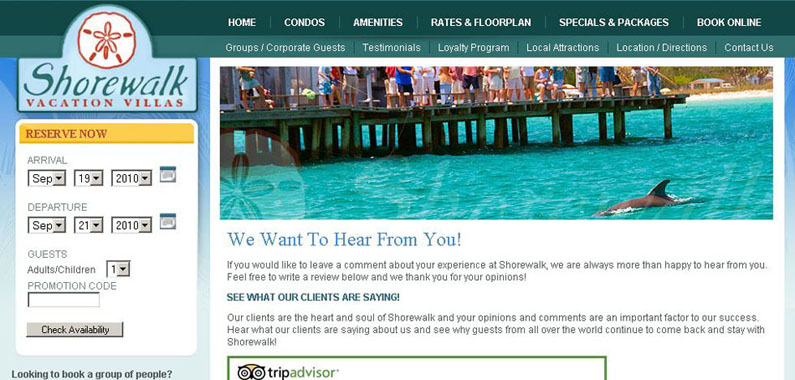 Shorewalk Website Testimonials Page