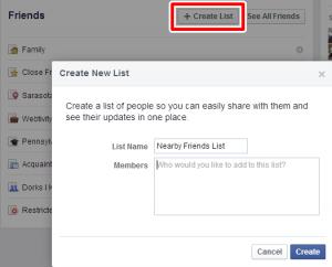Facebook Custom List