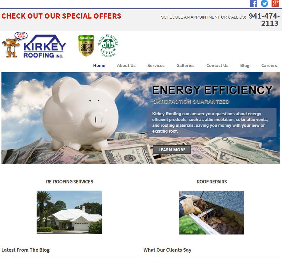 Kirkey roofing old website