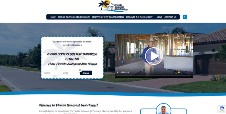 WEBTIVITY LAUNCHES NEW WEBSITE FOR FLORIDA SUNCOAST NEW HOMES!